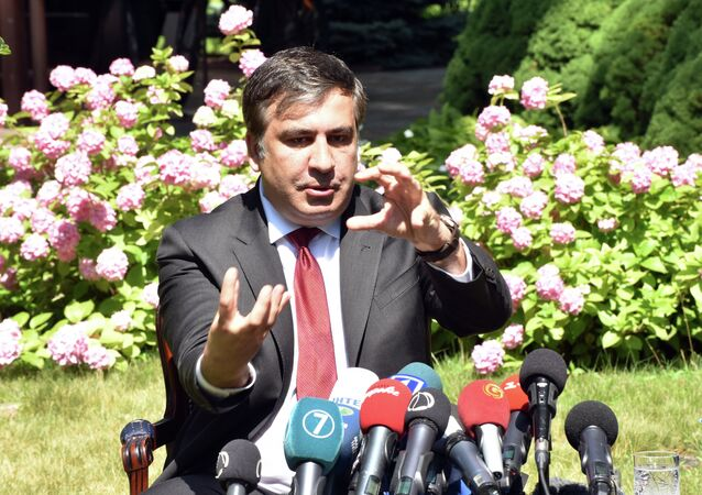 Mikheil Saakashvili, governor of Ukraine's Odessa region, during the news conference following his meeting with Jeffrey Payette, US ambassador in Ukraine