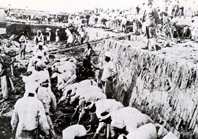 Korean people working at a gold mine