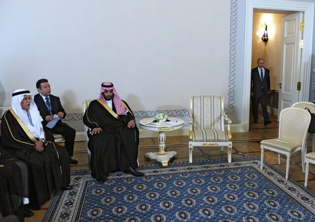 President Vladimir Putin (right) and Mohammad bin Salman Al Saud (second right), the deputy crown prince and defense minister of Saudi Arabia, meeting in St.Petersburg, June 18, 2015