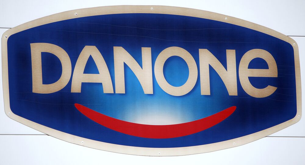 A photo taken on February 19, 2013 shows French Dairy firm Danone's logo at the plant.