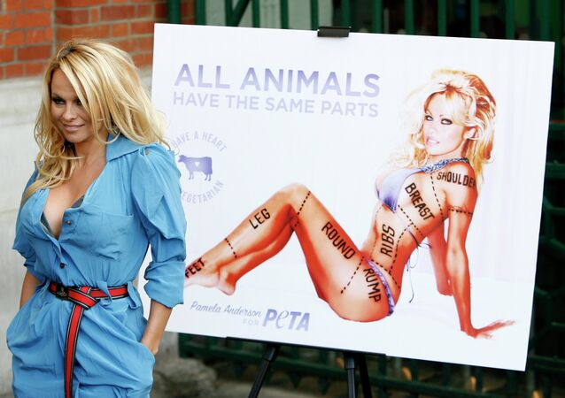 Canadian born actress Pamela Anderson poses for photographers during a photocall to unveil a new advertisement in aid of People for the Ethical Treatment of Animals (PETA) in London.