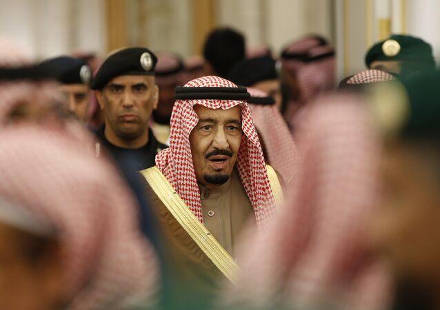 Saudi Arabia's King Salman attends a ceremony at the Diwan royal palace in Riyadh.