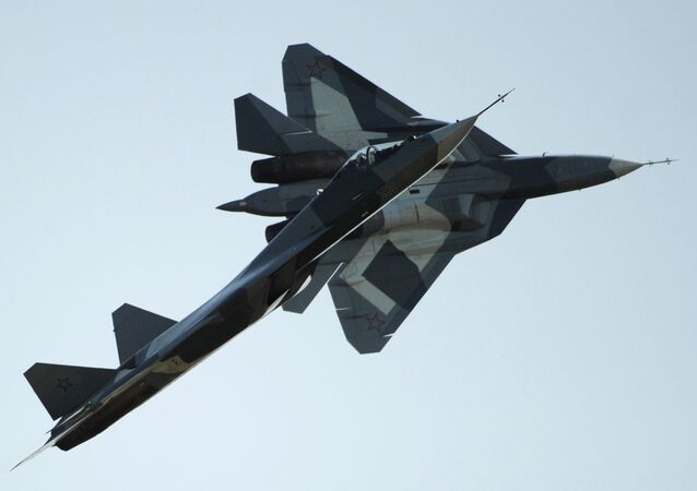 Russian first stealth fighters T-50 performs during MAKS-2011, the International Aviation and Space Show, in Zhukovsky, outside Moscow. File photo.
