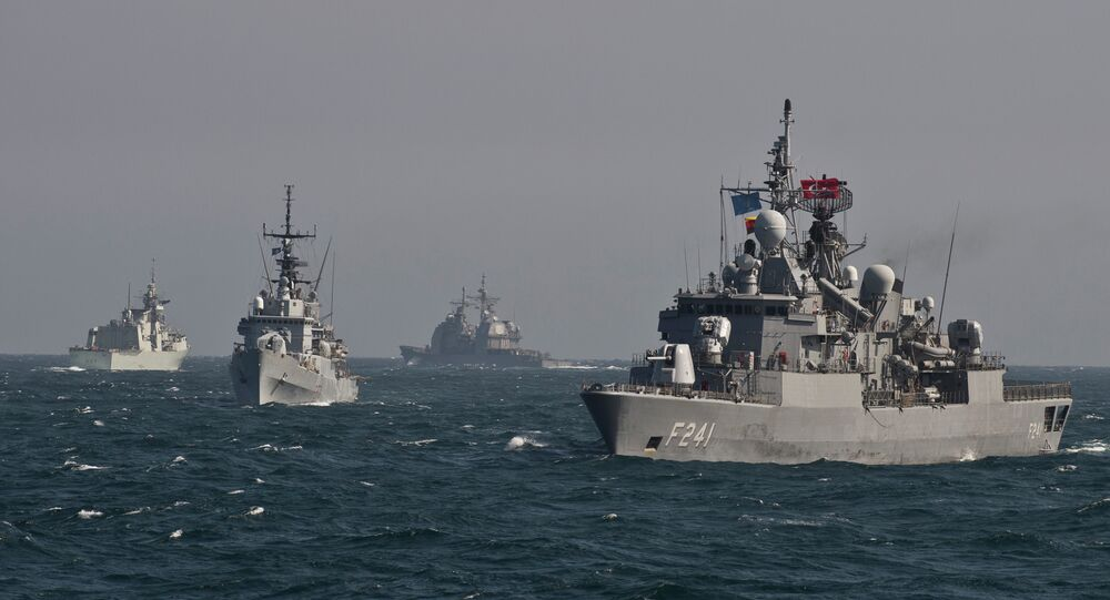 War ships of the NATO take part in a military drill on the Black Sea
