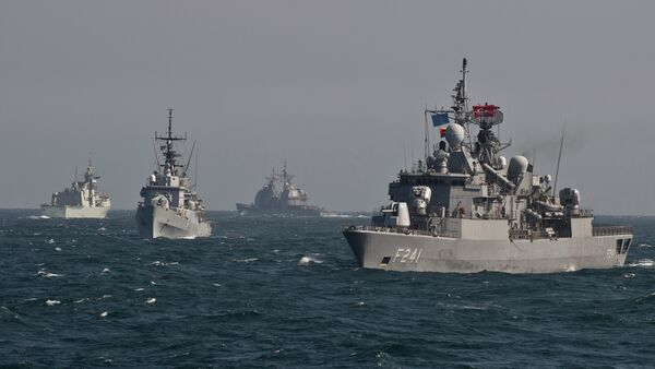 War ships of  NATO take part in a military drill on the Black Sea - Sputnik International
