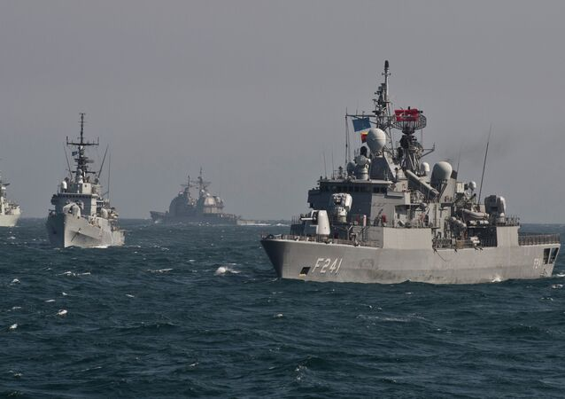 War ships of  NATO take part in a military drill on the Black Sea