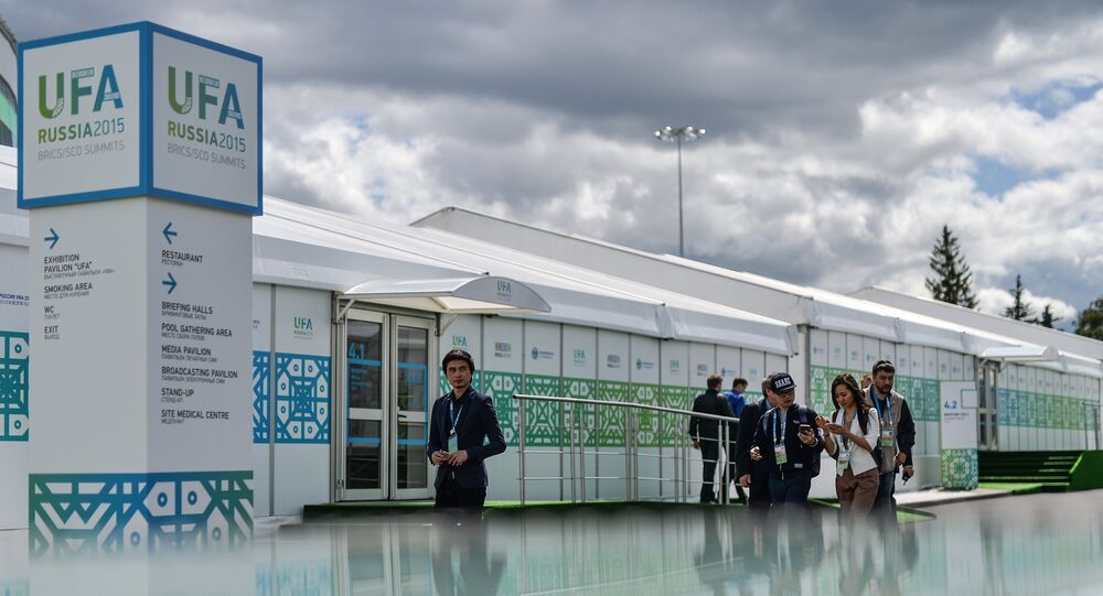 Journalists at the International Media Centre, which opened to cover the SCO and BRICS summits in Ufa.