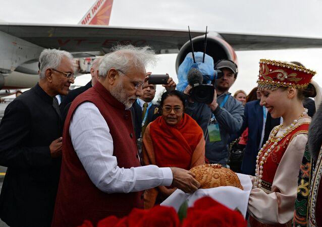 Prime Minister of the Republic of India Narendra Modi arrives in Ufa