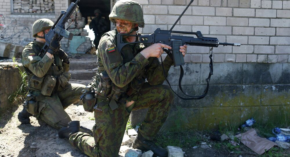 Members of the Lithuania Army Mechanised Infantry Brigade Iron Wolf