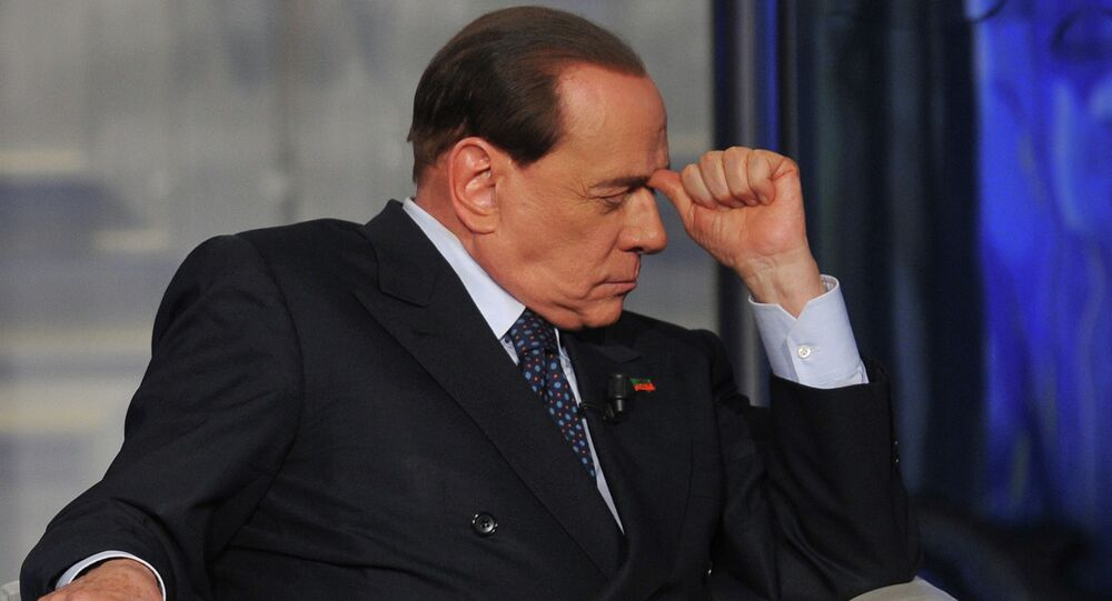 Former Italian Prime Minister Silvio Berlusconi attends the RAI 1 television programme Porta a Porta on April 24, 2014 in Rome.