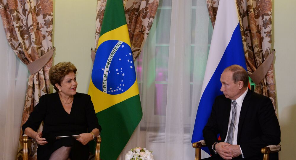 President of the Russian Federation Vladimir Putin meets with President of the Federative Republic of Brazil Dilma Rousseff
