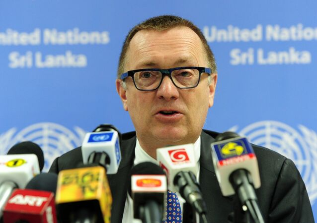 United Nations Under-Secretary-General for Political Affairs, Jeffrey Feltman addresses a press conference in Colombo on March 3, 2015