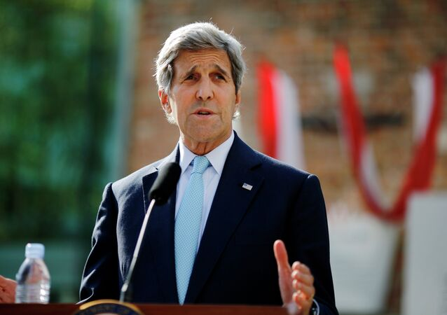 US Secretary of State John Kerry delivers a statement on the Iran talks in Vienna, Austria, Sunday, July 5, 2015