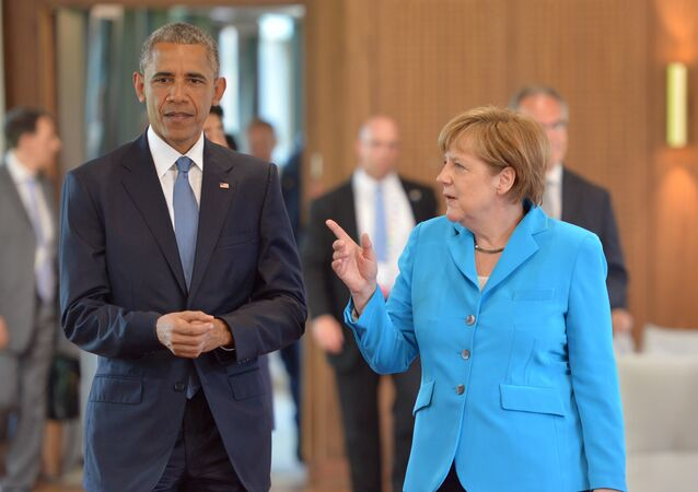 US President Barack Obama and Germany's Chancellor Angela Merkel, arrive for the first working session of a G7 summit at the Elmau Castle near Garmisch-Partenkirchen, southern Germany, on June 7, 2015