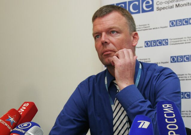 Deputy Chief Monitor of OSCE Special Monitoring Mission to Ukraine Alexander Hug speaks with journalists