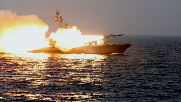 A Moskit supersonic anti-ship missile is launched from a missile boat during a training exercise for guard missile boats and artillery exercises held in the Sea of Japan - Sputnik International