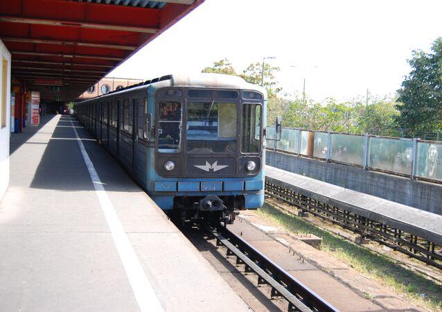 Train at Kőbanya-Kispest metro station in Budapest