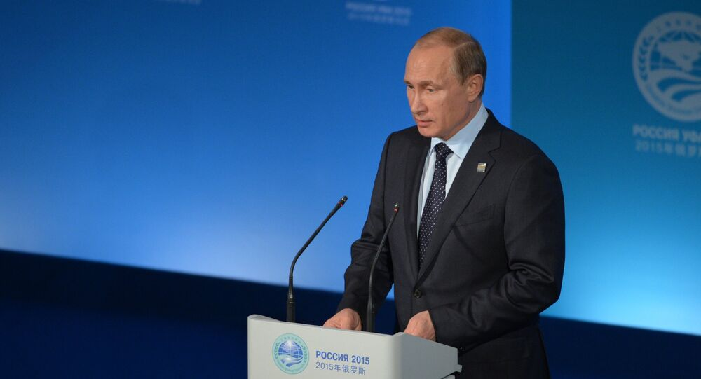 Russian President Vladimir Putin during a press conference in Ufa