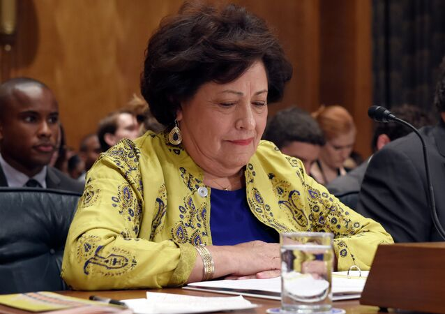 Office of Personnel Management Director Katherine Archuleta testifies before the Senate Homeland Security and Governmental Affairs Committee on Capitol Hill in Washington, Thursday, June 25, 2015