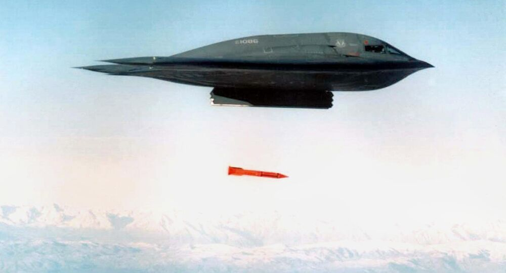 An undated file picture shows a B-2 Spirit Bomber droping a B61-11 bomb casing from an undisclosed location