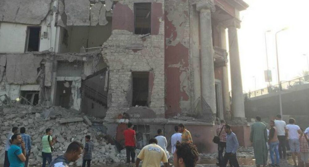 Cairo's Italian Consulate shattered in this morning's blast