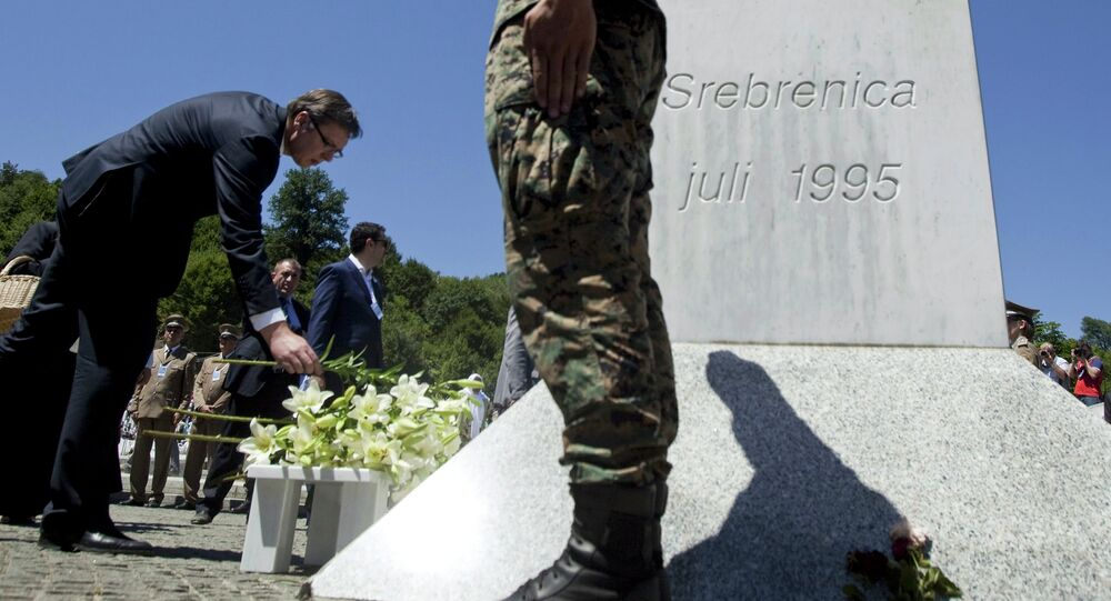 Serbia's Prime Minister Aleksandar Vucic lays flowers during a ceremony marking the 20th anniversary of the Srebrenica massacre in Potocari, near Srebrenica, Bosnia and Herzegovina July 11, 2015