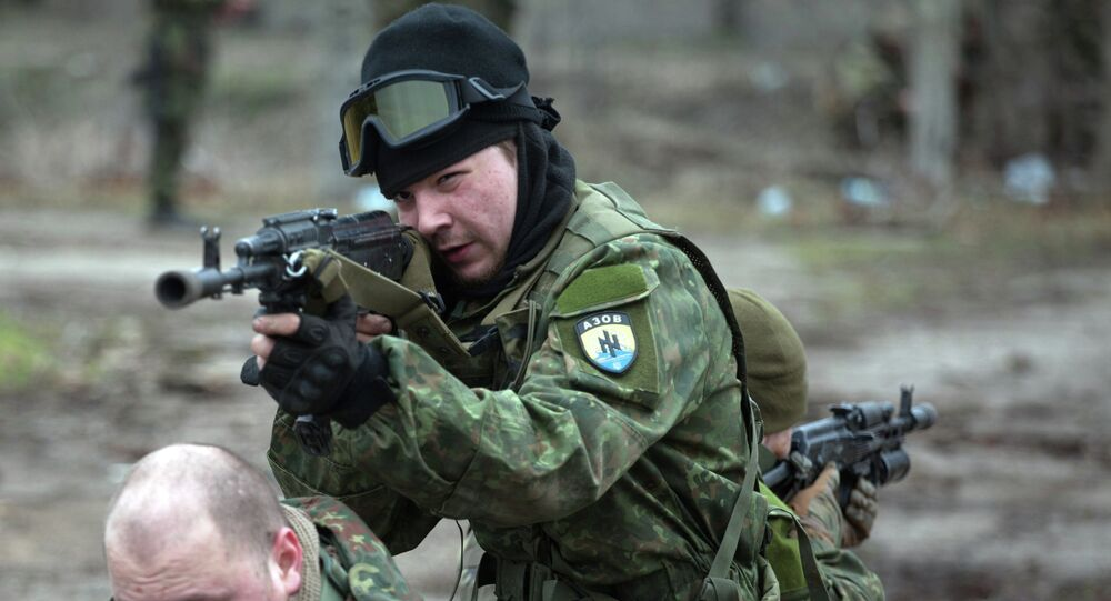 Fighters of the Azov paramilitary battalion, a pro-Ukrainian volunteer armed group, take part in combat drills near the southern Ukrainian city of Mariupol on February 6, 2015