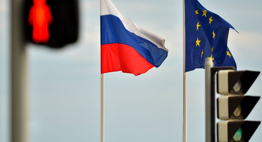 Flags of Russia and the EU