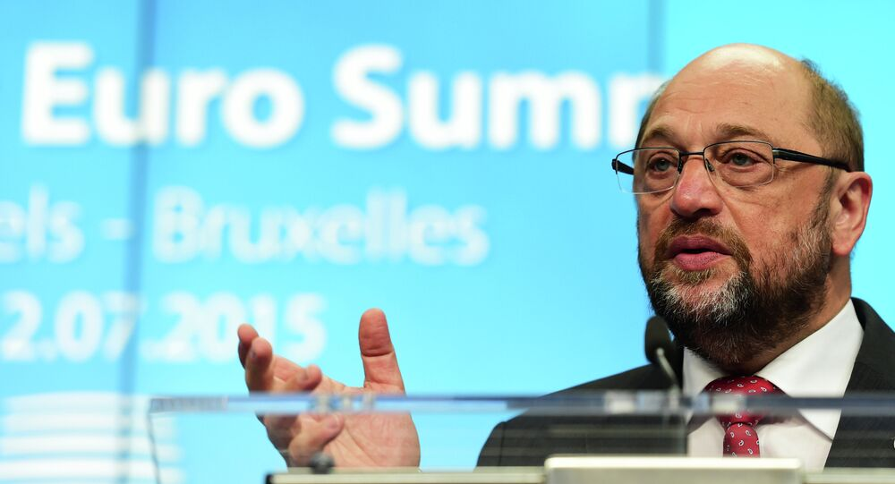 European Parliament President Martin Schulz addresses a press conference during a summit of Eurozone heads of state in Brussel on July 12, 2015