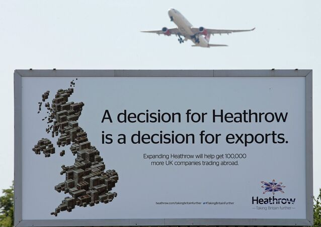 An aircraft takes off from Heathrow airport