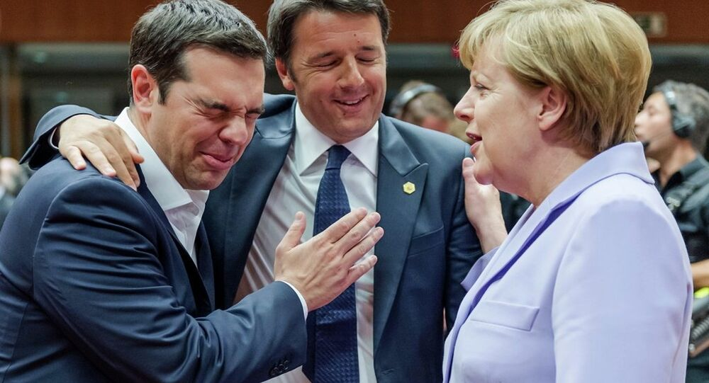 Italian Prime Minister Matteo Renzi, center, speaks with Greek Prime Minister Alexis Tsipras, left, and German Chancellor Angela Merkel