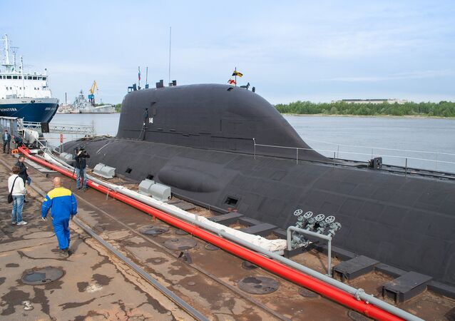 The first multirole Yasen K-560 submarine, the Severodvinsk, by the pier of the Sevmash shipyard in Severodvinsk, Arkhangelsk Region. file photo