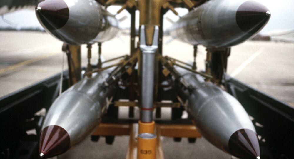 B61s on a bomb rack
