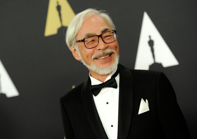 Hayao Miyazaki arrives at the 6th annual Governors Awards at the Hollywood and Highland Center on Saturday, Nov. 8, 2014 in Los Angeles.