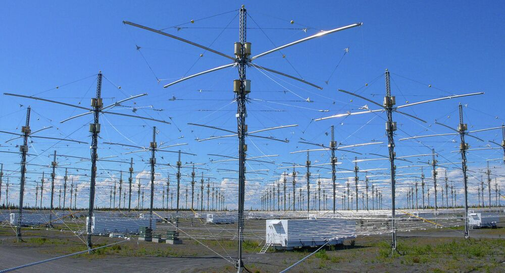 Antennas for the High Frequency Active Auroral Research Program (HAARP) are seen near Gakona, Alaska.