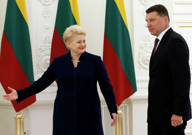 Lithuania's President Dalia Grybauskaite, centre, welcomes Latvia's President Raimonds Vejonis, right, prior to their meeting at the President's palace in Vilnius, Lithuania, Monday, July 13, 2015.