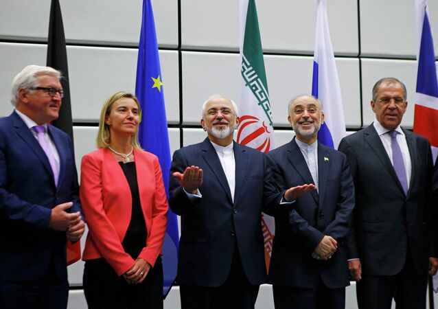 German Minister for Foreign Affairs Frank-Walter Steinmeier, High Representative of the European Union for Foreign Affairs and Security Policy Federica Mogherini, Iranian Foreign Minister Mohammad Javad Zarif, Iranian ambassador to IAEA Ali Akbar Salehi and Russian Foreign Minister Sergey Lavrov (L-R), prepare for a family photo in Vienna, Austria 14 July, 2015