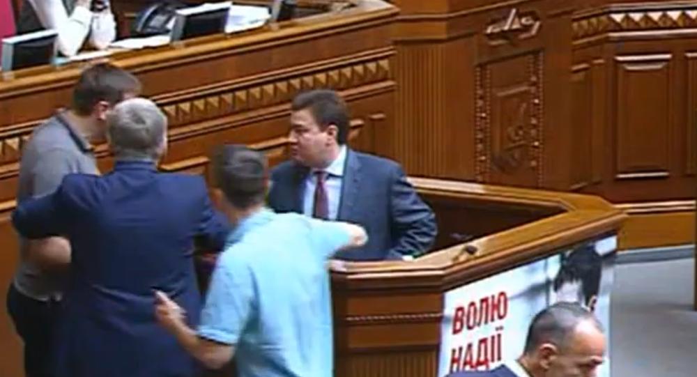 Ukrainian Politicians Scuffle in Parliament Over Right Sector Issue