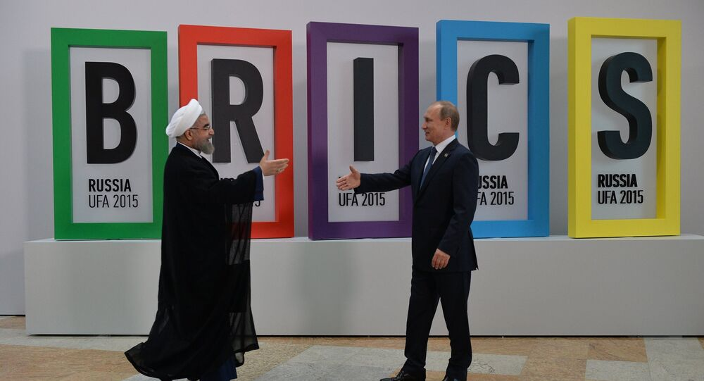 President of the Russian Federation Vladimir Putin, right, and President of the Islamic Republic of Iran Hassan Rouhani at the welcome ceremony for the leaders of the invited states