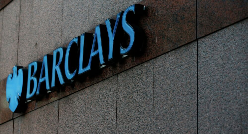 The logo of Barclays Bank branch in London