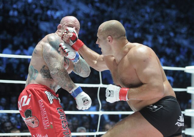 Mixed Martial Arts. Fight between Feodor Emelianenko and Jeff Monson