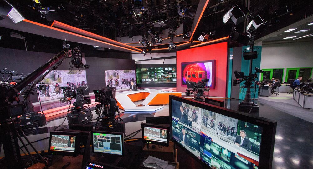Russia Today newsroom during a live program in English