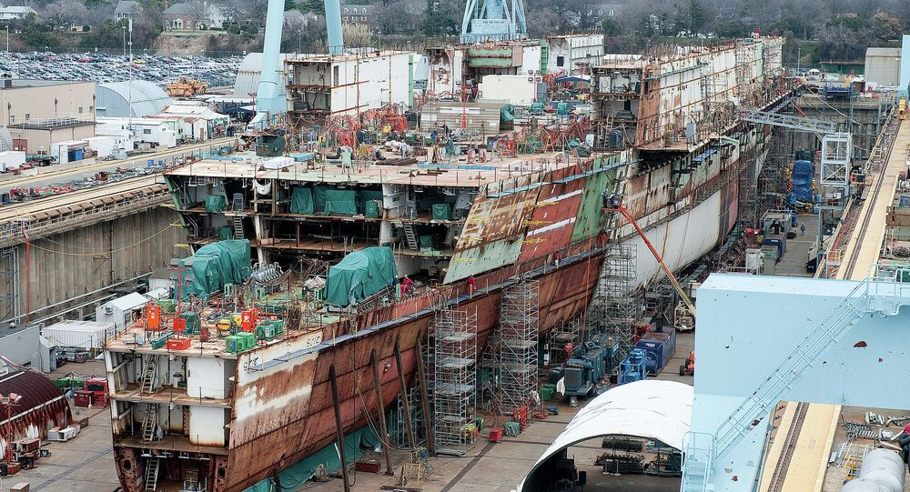 Construction of the USS Ford at the Newport News naval yard in 2012.