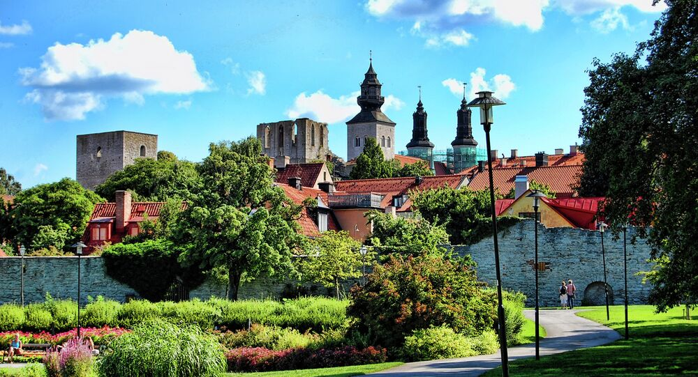 Walking towards the walls of old Visby, Gotland Island