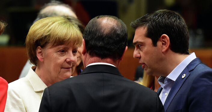 (From L) German Chancellor Angela Merkel, French President Francois Hollande, and Greek Prime Minister Alexis Tsipras confer prior to the start of a summit of Eurozone heads of state in Brussels on July 12, 2015