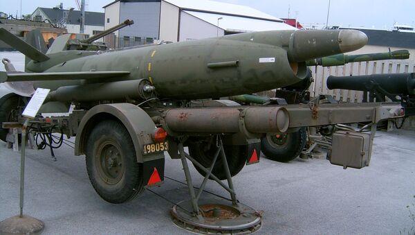 Swedish coastal missile Saab Robot 08 (Kustrobot 08) at the museum at Gotland Coastal Artillery Regiment KA 3 in Fårösund, Sweden - Sputnik International