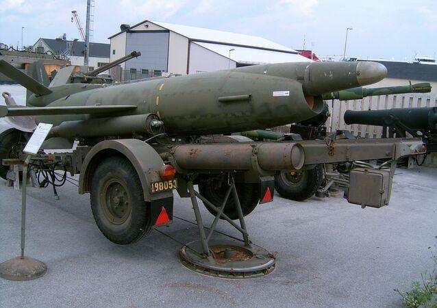 Swedish coastal missile Saab Robot 08 (Kustrobot 08) at the museum at Gotland Coastal Artillery Regiment KA 3 in Fårösund, Sweden