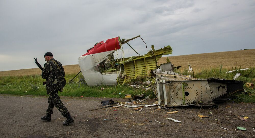 At the crash site of Malaysia Airlines flight MH17 in Ukraine