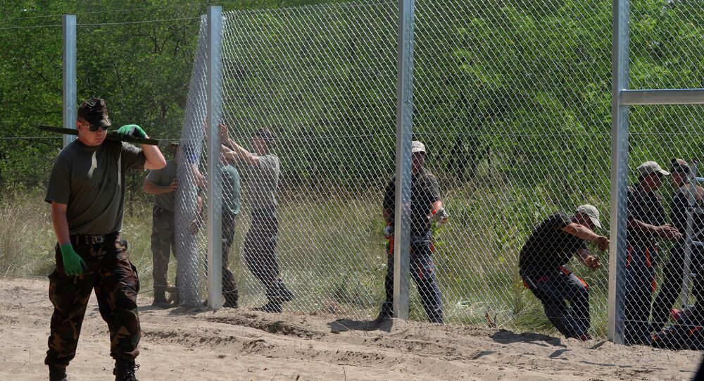 Local soldiers of the Hungarian Army's technical unit set the first elements of the 150 meters long metal fence at the Hungarian-Serbian border nearby Morahalom village on July 16, 2015