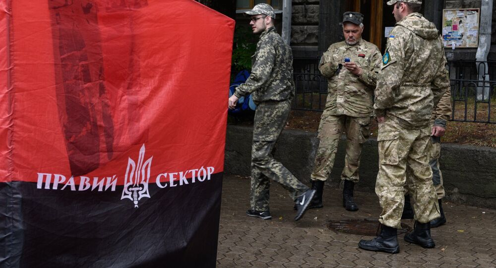 Right Sector rally at the building of Presidential Administration of Ukraine in Kiev